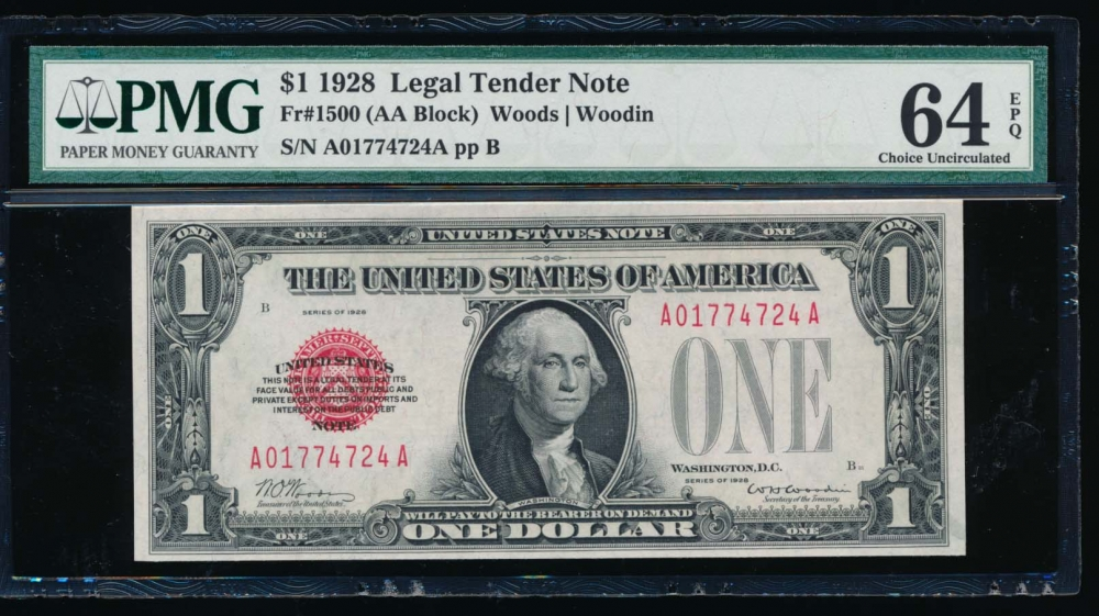 Fr. 1500 1928 $1  Legal Tender  PMG 64EPQ A01774724A