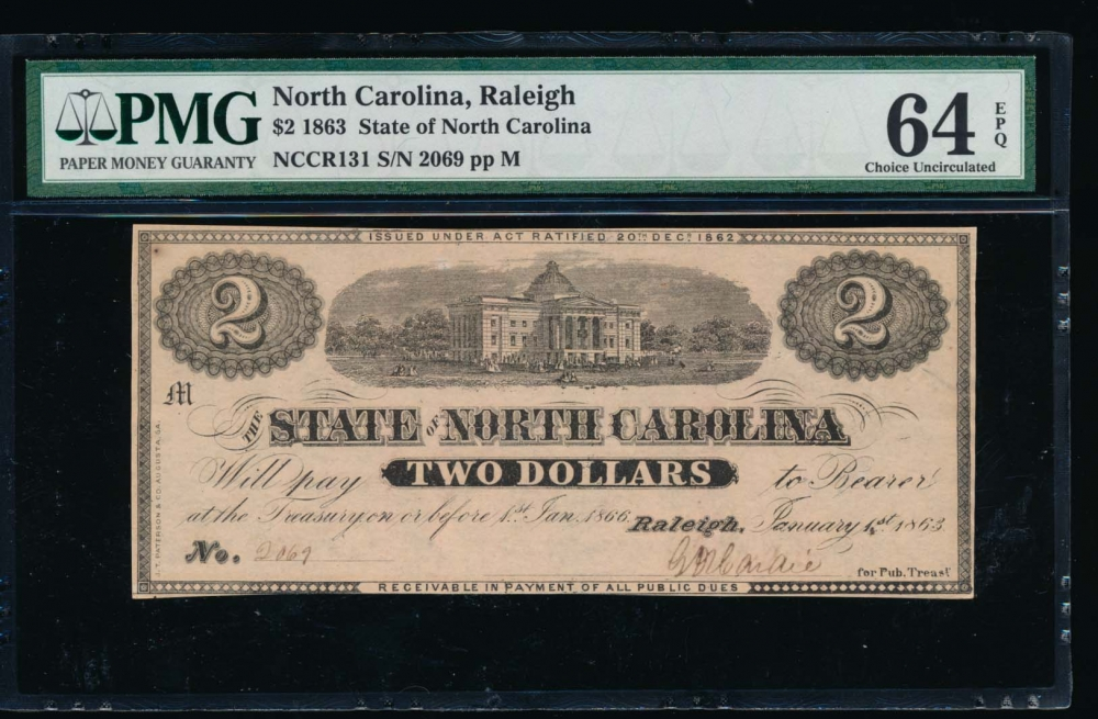 Fr. Cr NC-131 1863 $2  Obsolete State of North Carolina, Raleigh PMG 64EPQ 2069M