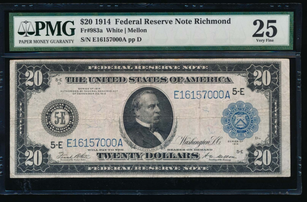 Fr. 983a 1914 $20  Federal Reserve Note Richmond PMG 25 E16157000A