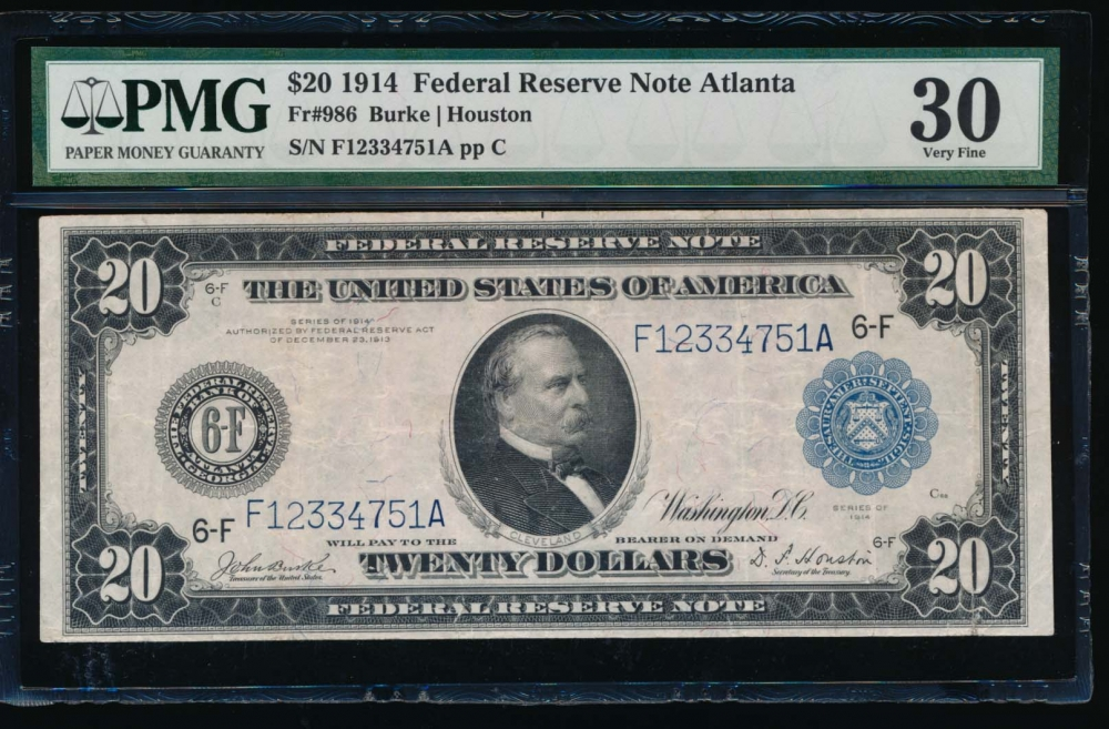 Fr. 986 1914 $20  Federal Reserve Note Atlanta PMG 30 F12334751A