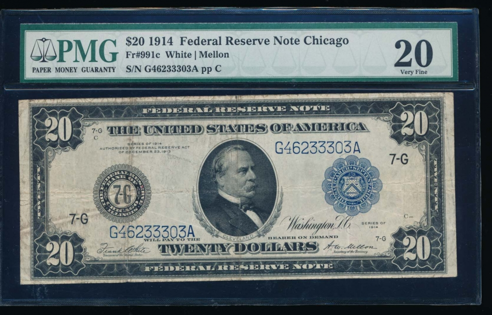 Fr. 991c 1914 $20  Federal Reserve Note Chicago PMG 20 G46233303A