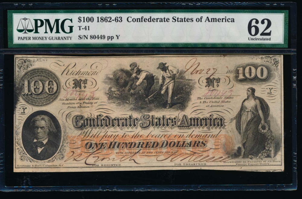 Fr. T-41 1862 $100  Confederate  PMG 62 comment 80449