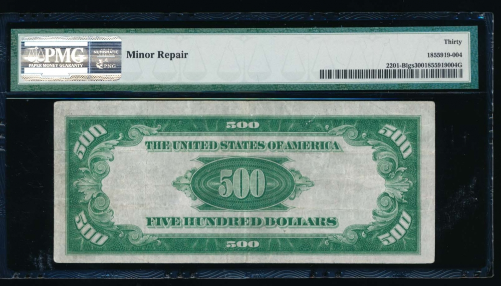 Fr. 2201-B 1934 $500  Federal Reserve Note New York LGS PMG 30 comment B00068605A reverse