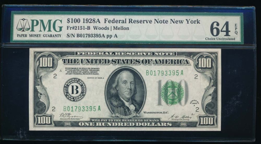 Fr. 2151-B 1928A $100  Federal Reserve Note New York PMG 64EPQ B01793395A