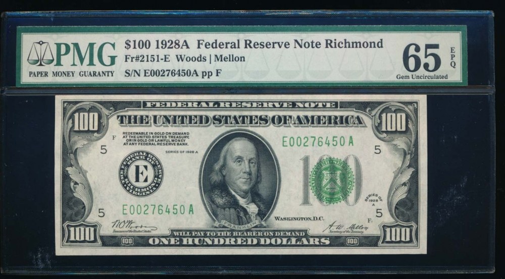 Fr. 2151-E 1928A $100  Federal Reserve Note Richmond PMG 65EPQ E00276450A