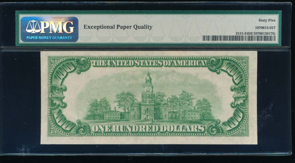 Fr. 2151-E 1928A $100  Federal Reserve Note Richmond PMG 65EPQ E00276450A reverse
