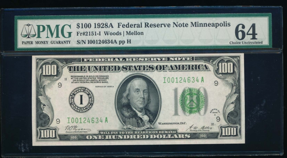 Fr. 2151-I 1928A $100  Federal Reserve Note Minneapolis PMG 64 I00124634A