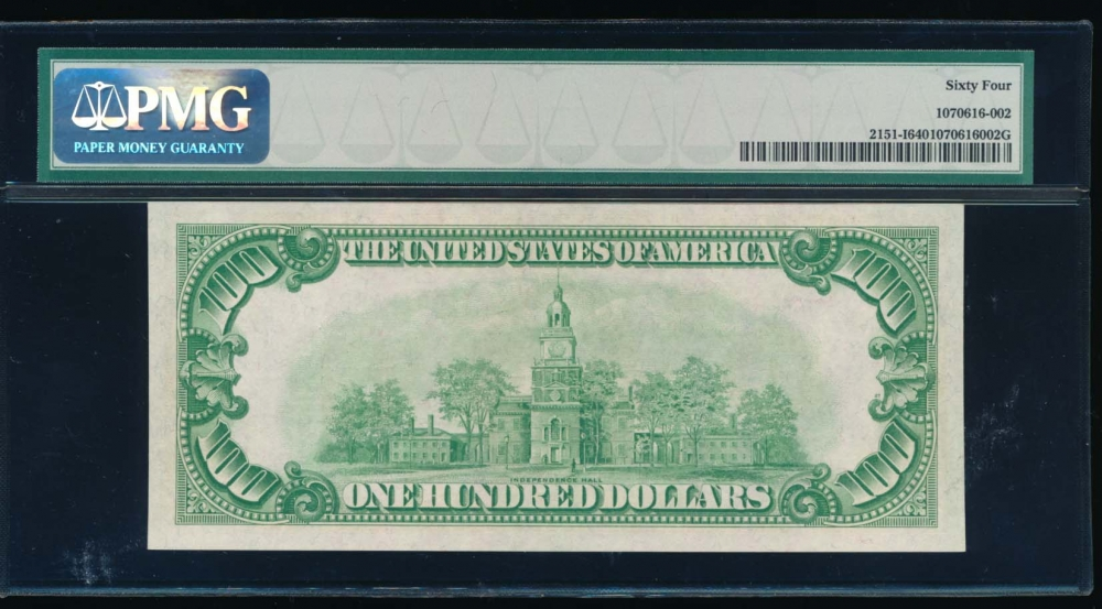 Fr. 2151-I 1928A $100  Federal Reserve Note Minneapolis PMG 64 I00124634A reverse