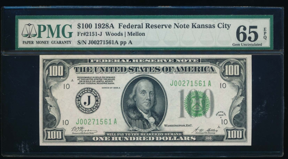 Fr. 2151-J 1928A $100  Federal Reserve Note Kansas City PMG 65EPQ J00271561A