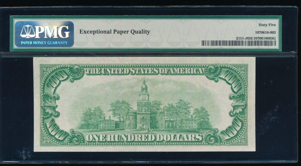 Fr. 2151-J 1928A $100  Federal Reserve Note Kansas City PMG 65EPQ J00271561A reverse