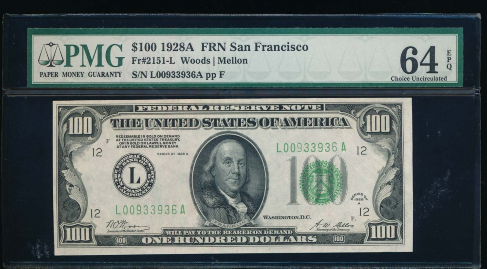 Fr. 2151-L 1928A $100  Federal Reserve Note San Francisco PMG 64EPQ L00933936A