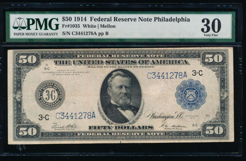 Fr. 1035 1914 $50  Federal Reserve Note Philadelphia PMG 30 C3441278A