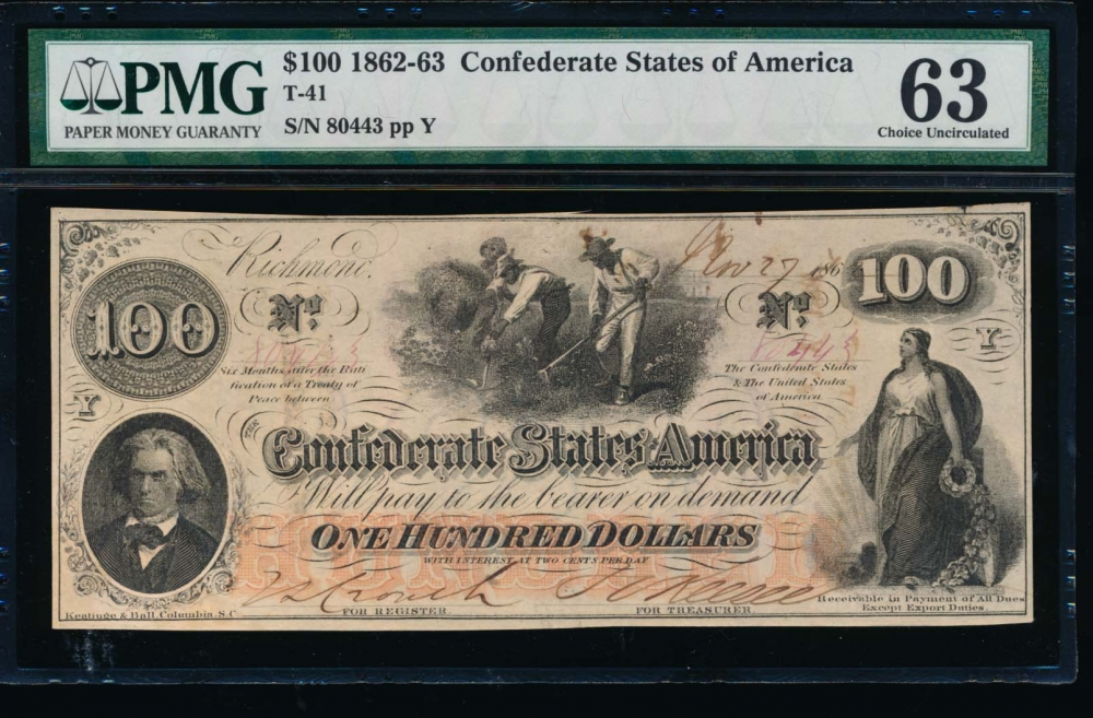 Fr. T-41 1862 $100  Confederate  PMG 63 comment 80443