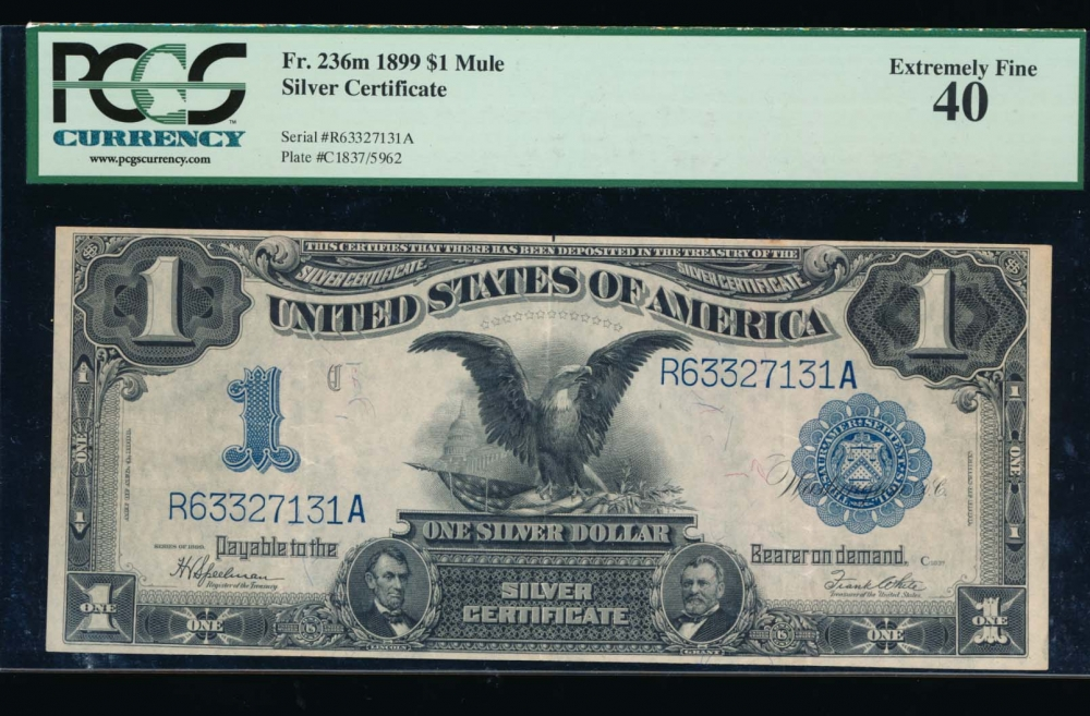 Fr. 236 1899 $1  Silver Certificate  PCGS 40 R63327131A