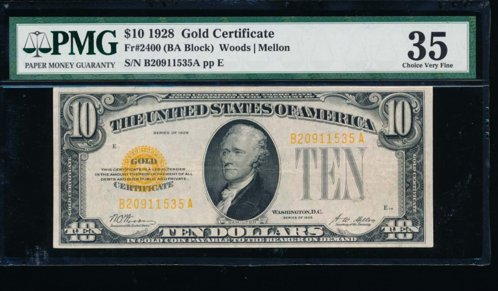 Fr. 2400 1928 $10  Federal Reserve Note BA block PMG 35 comment B20911535A