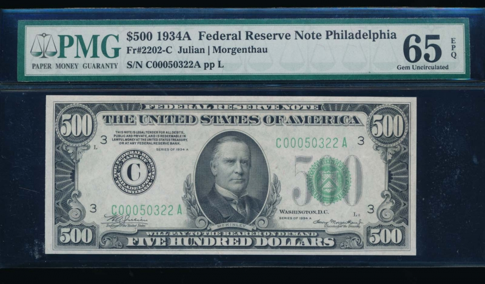 Fr. 2202-C 1934A $500  Federal Reserve Note Philadelphia PMG 65EPQ C00050322A