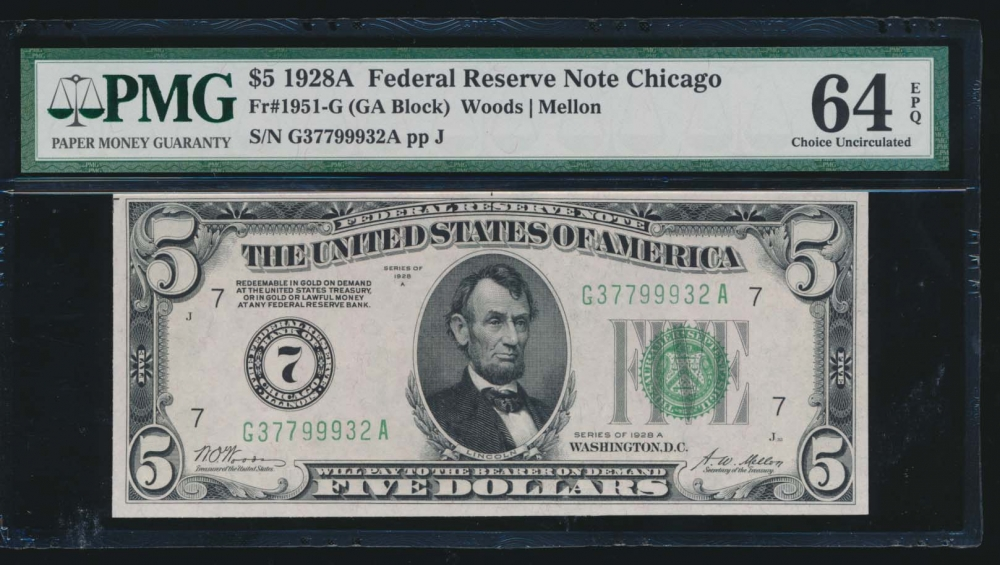 Fr. 1951-G 1928A $5  Federal Reserve Note Chicago PMG 64EPQ G37799932A