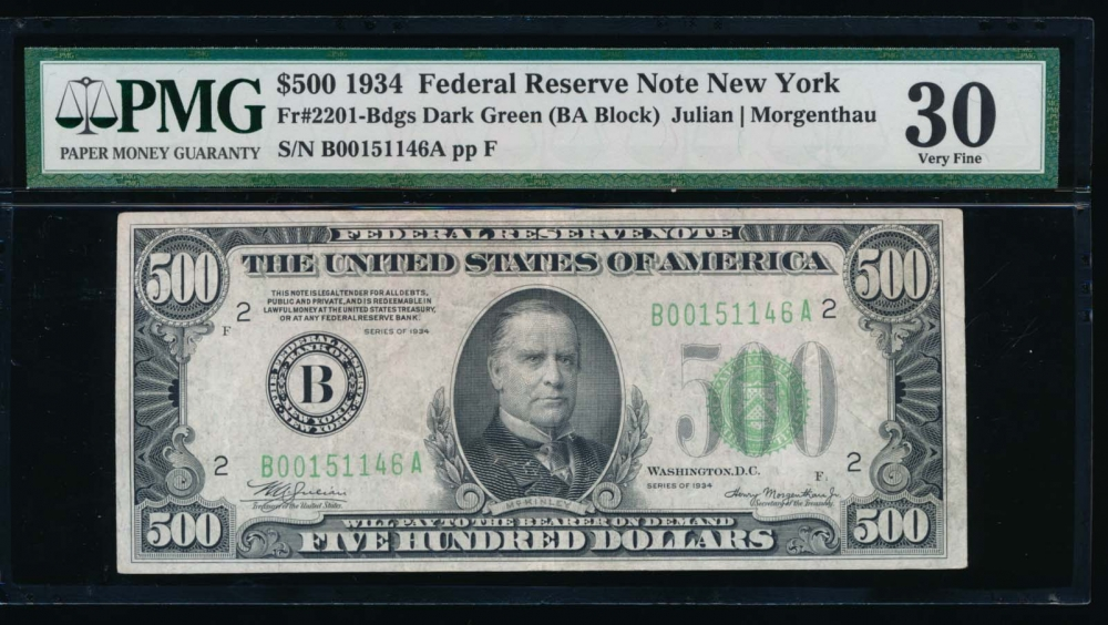Fr. 2201-B 1934 $500  Federal Reserve Note New York PMG 30 comment B00151146A obverse