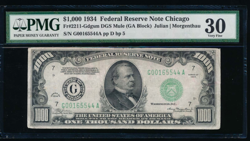 Fr. 2211-G 1934 $1,000  Federal Reserve Note Chicago PMG 30 comment G00165544A