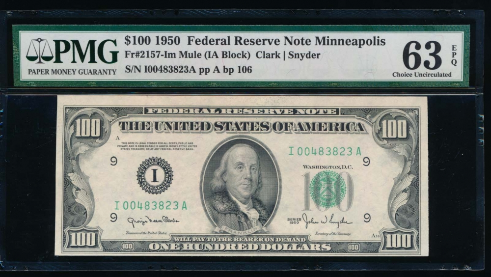 Fr. 2157-I 1950 $100  Federal Reserve Note Minneapolis PMG 63EPQ I00483823A obverse