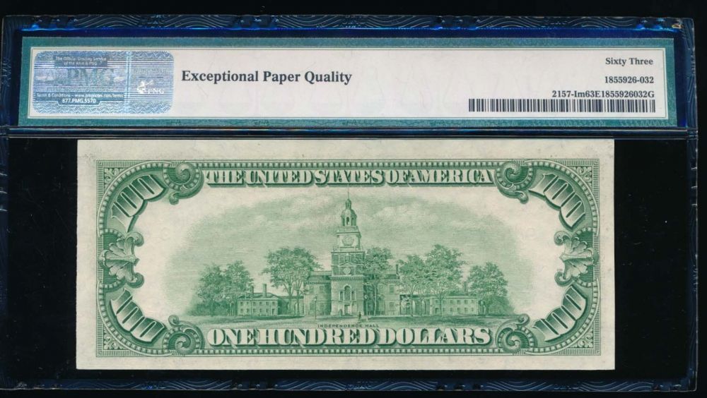 Fr. 2157-I 1950 $100  Federal Reserve Note Minneapolis PMG 63EPQ I00483823A reverse