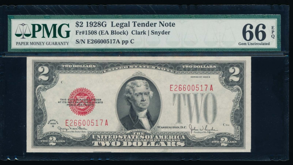 Fr. 1508 1928G $2  Legal Tender EA block PMG 66EPQ E26600517A