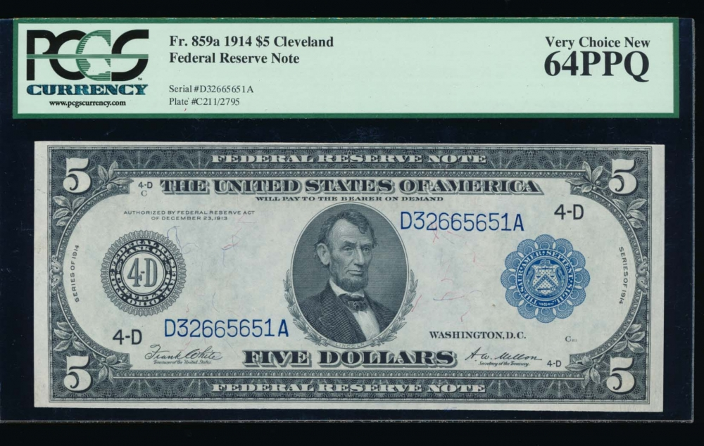 Fr. 859a 1914 $5  Federal Reserve Note Cleveland PCGS 64PPQ D32665651A