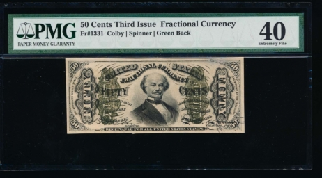 Fr. 1331  $0.50  Fractional Third Issue; Spinner, Green Back PMG 40 no serial number