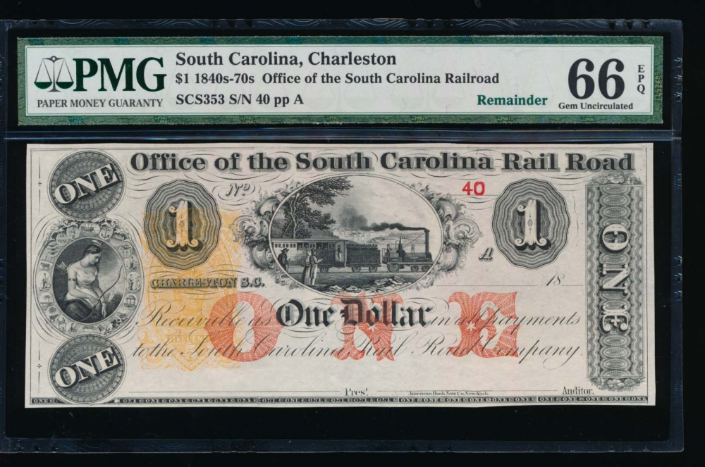 Fr. SCS353 1800s $1  Obsolete Office of the South Carolina Rail Road, Charleston, SC PMG 66EPQ 40A