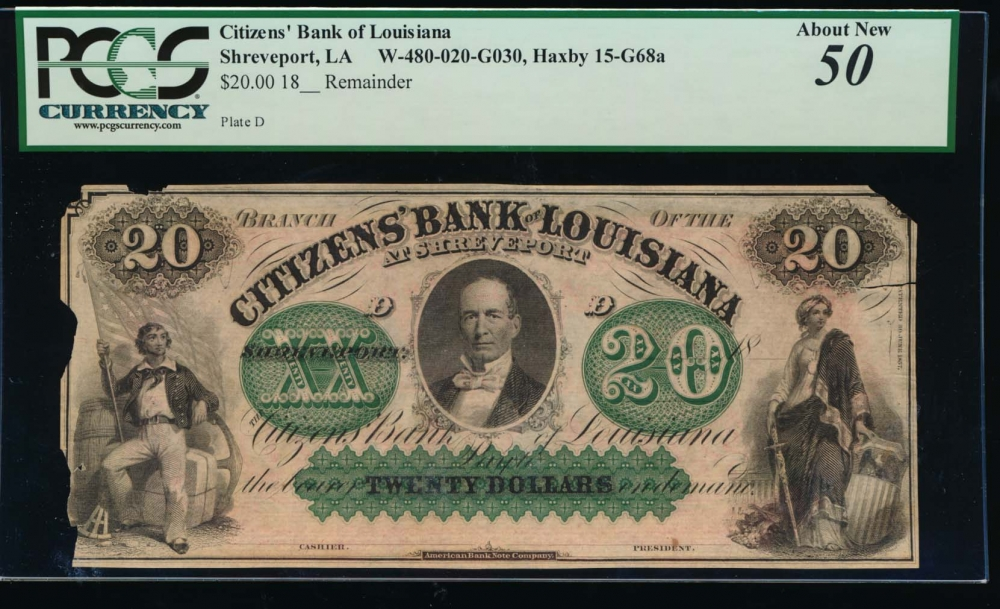 Fr. H LA-15 68 1800s $20  Obsolete Citizens Bank of Louisiana at New Orleans PCGS 50 comment no serial number