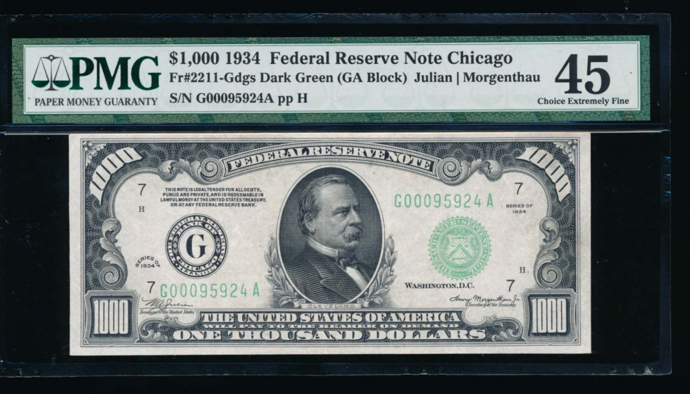 Fr. 2211-G 1934 $1,000  Federal Reserve Note Chicago PMG 45 G00095924A