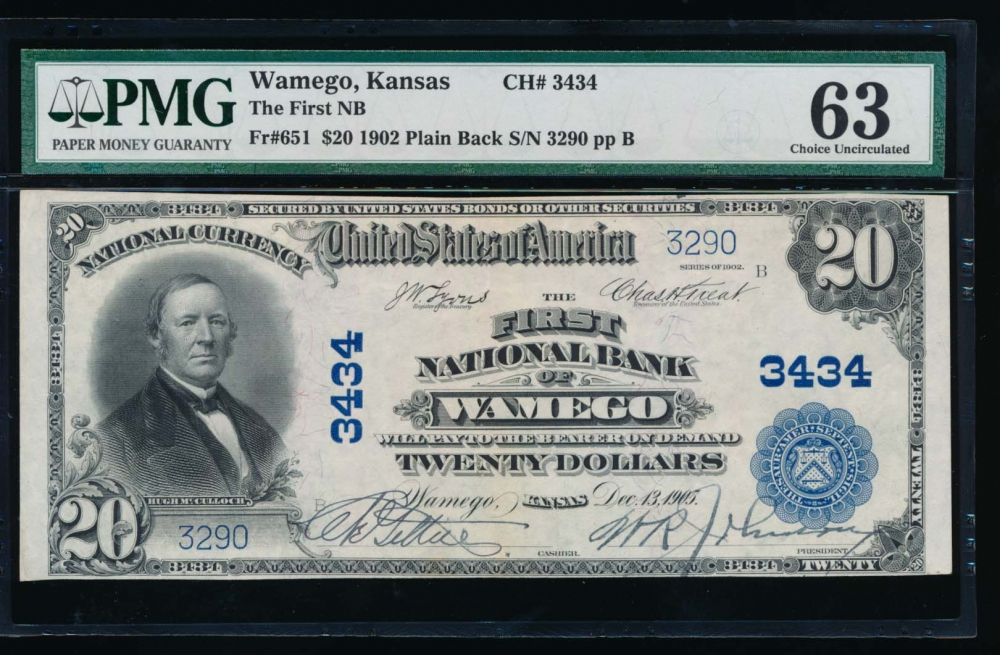 Fr. 651 1902 $20  National: Plain Back Ch #3434 The First National Bank of Wamego, Kansas PMG 63 3290