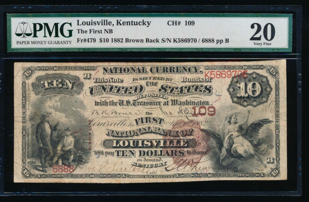 Fr. 479 1882 $10  National: Date Back Ch #109 The First National Bank of Louisville, Kentucky PMG 20 6888