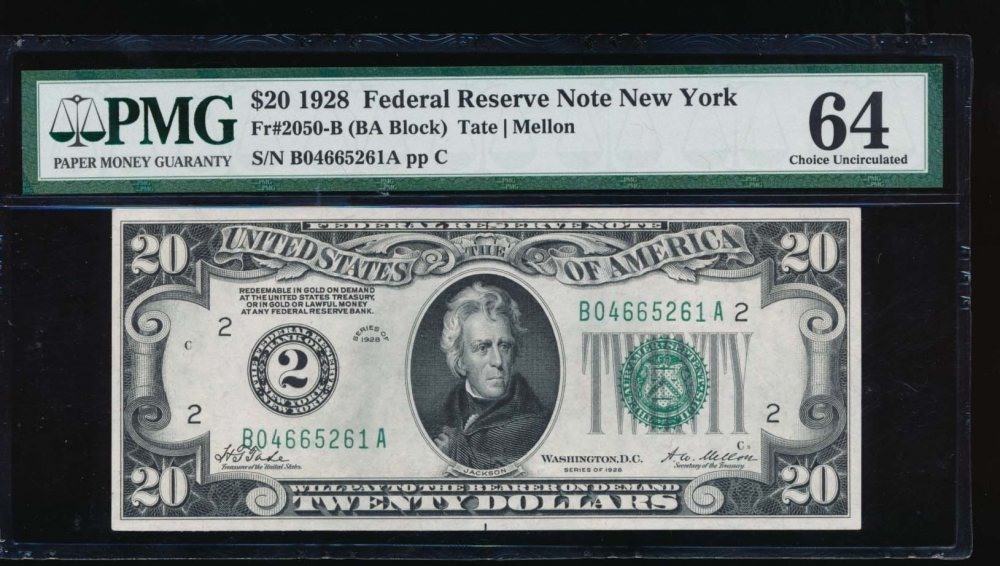 Fr. 2050-B 1928 $20  Federal Reserve Note New York PMG 64 B04665261A