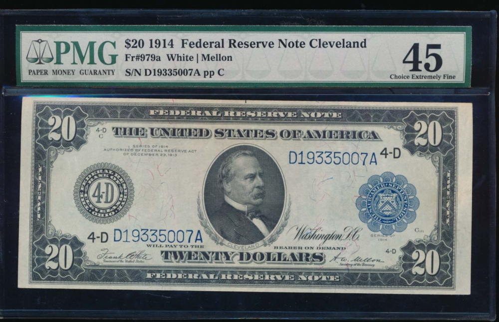 Fr. 979a 1914 $20  Federal Reserve Note Cleveland PMG 45 D19335007A