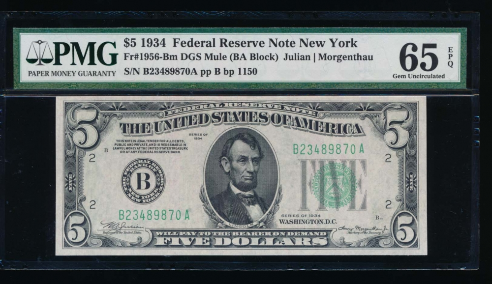 Fr. 1956-B 1934 $5  Federal Reserve Note New York PMG 65EPQ B23489870A