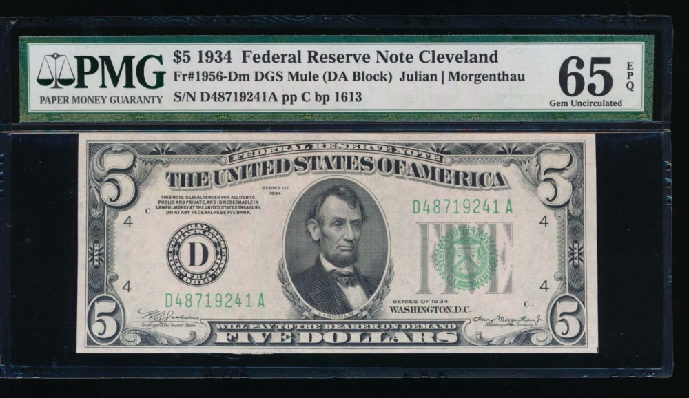 Fr. 1956-D 1934 $5  Federal Reserve Note Cleveland PMG 65EPQ D48719241A