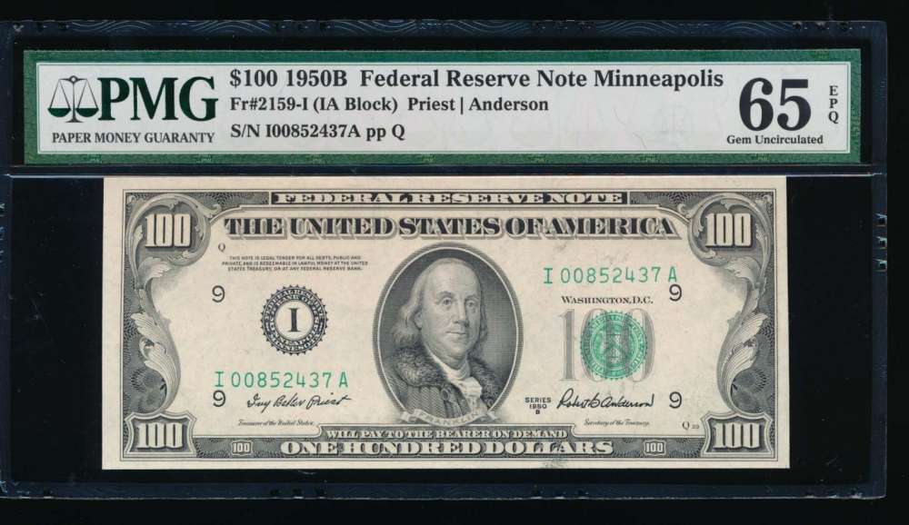 Fr. 2159-I 1950B $100  Federal Reserve Note Minneapolis PMG 65EPQ I00852437A
