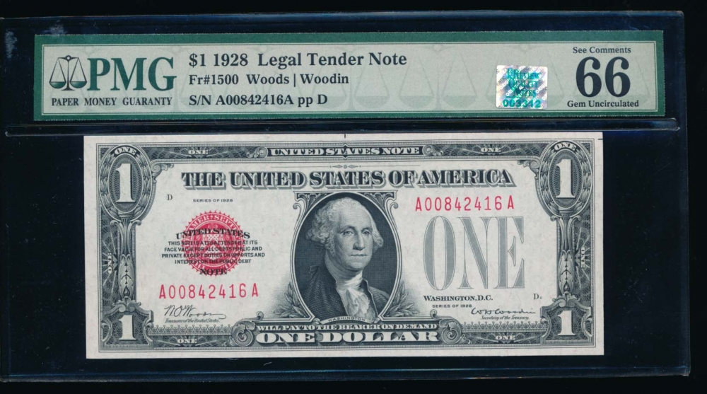 Fr. 1500 1928 $1  Legal Tender AA block PMG 66EPQ RQN A00842416A