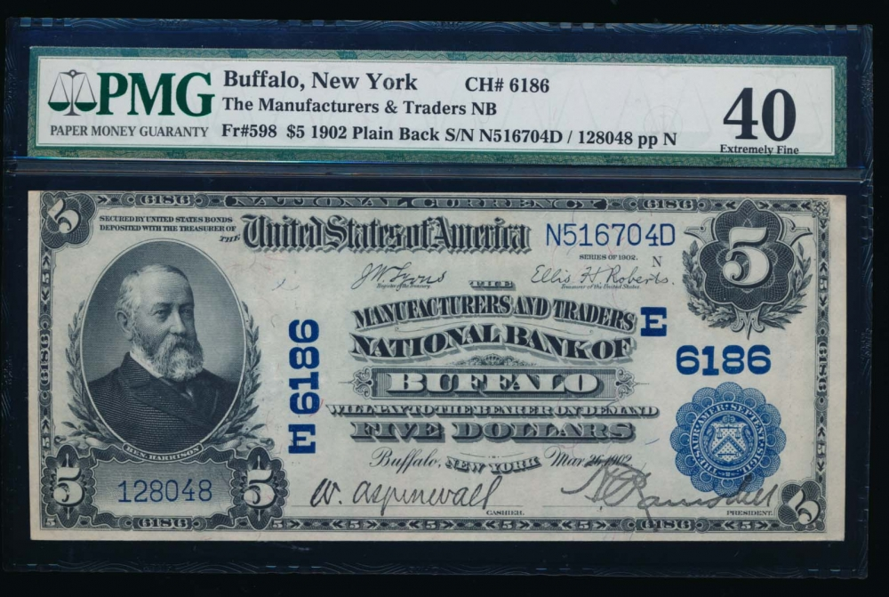 Fr. 598 1902 $5  National: Plain Back Ch #6186 The Manufacturers and Traders National Bank of Buffalo, New York PMG 40 128048