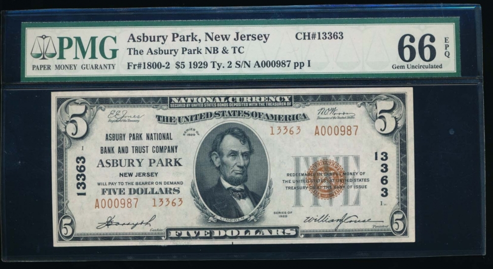 Fr. 1800-2 1929 $5  National: Type II Ch #13363 Asbury Park National Bank and Trust Company Asbury Park, New Jersey PMG 66EPQ A000987