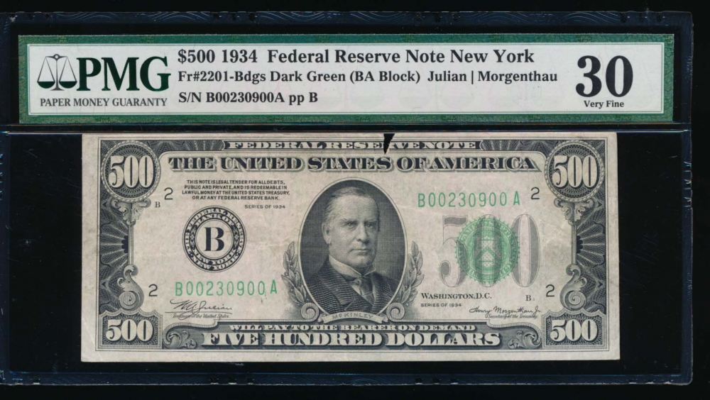 Fr. 2201-B 1934 $500  Federal Reserve Note New York PMG 30 comment B00230900A