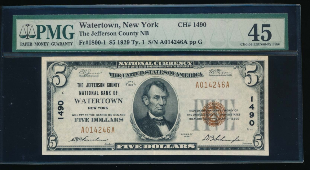 Fr. 1800-1 1929 $5  National: Type I Ch #1490 The Jefferson County National Bank of Watertown, New York PMG 45 A014246A