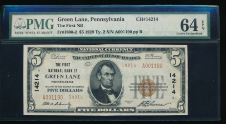 Fr. 1800-2 1929 $5  National: Type II Ch #14214 The First National Bank of Green Lane, Pennsylvania PMG 64EPQ A001190
