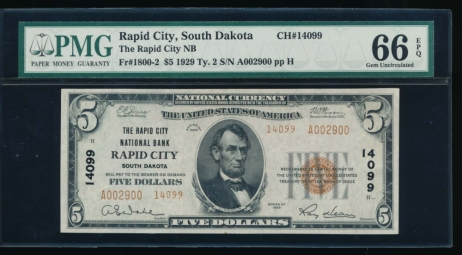 Fr. 1800-2 1929 $5  National: Type II C#14099 The Rapid City National Bank Rapid City, South Dakota PMG 66EPQ A002900