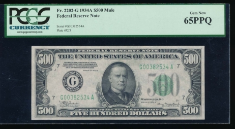 Fr. 2202-G 1934A $500  Federal Reserve Note Chicago PCGS 65PPQ G00382534A