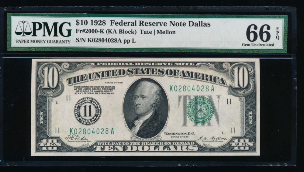 Fr. 2000-K 1928 $10  Federal Reserve Note Dallas PMG 66EPQ K02804028A