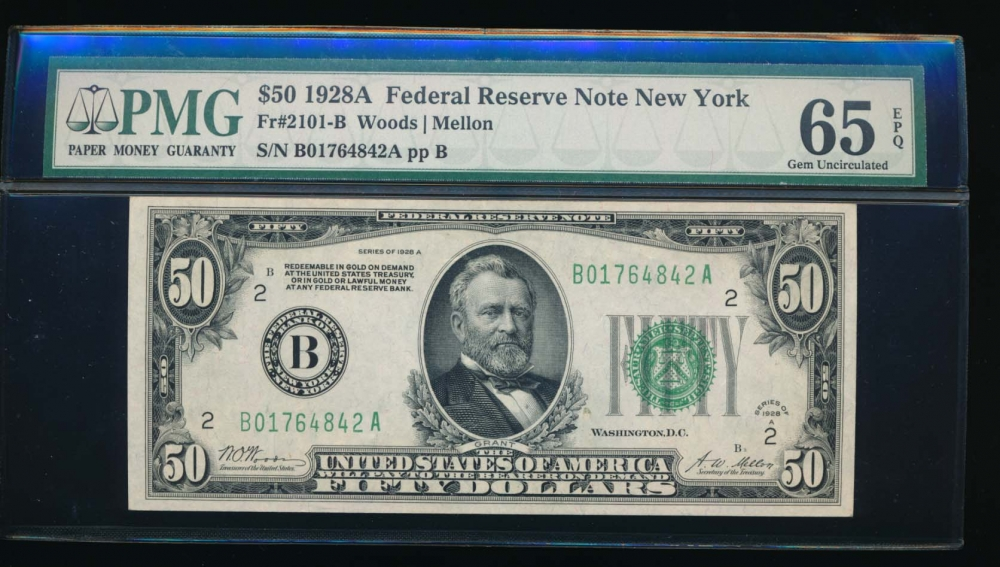 Fr. 2101-B 1928A $50  Federal Reserve Note New York PMG 65EPQ B01764842A