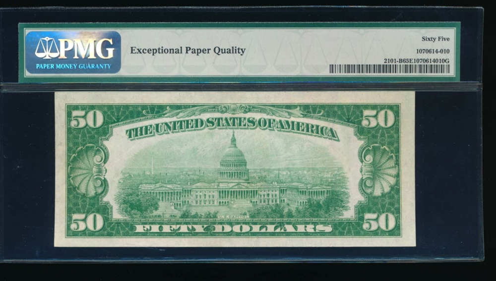 Fr. 2101-B 1928A $50  Federal Reserve Note New York PMG 65EPQ B01764842A reverse