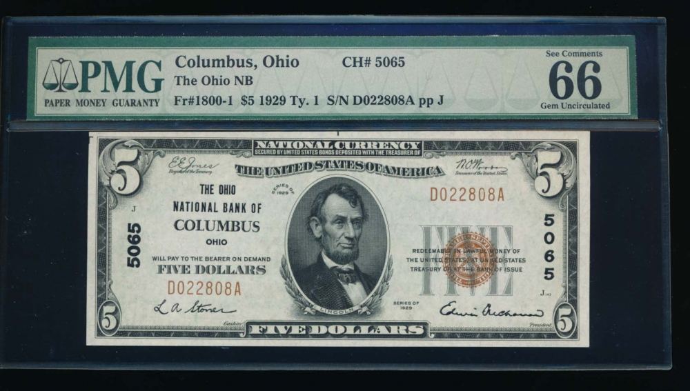 Fr. 1800-1 1929 $5  National: Type I Ch #5065 The Ohio National Bank of Columbus, Ohio PMG 66EPQ D022808A